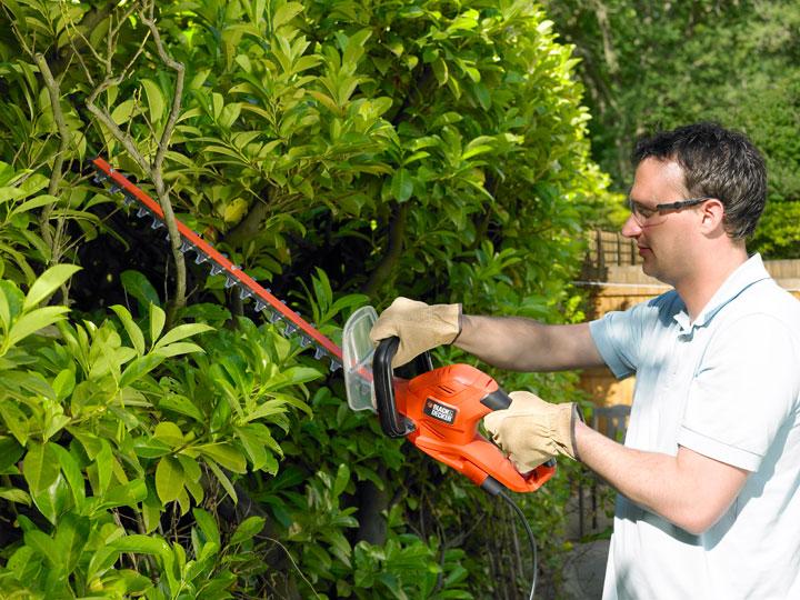 jardinero utilizando un cortasetos eléctrico