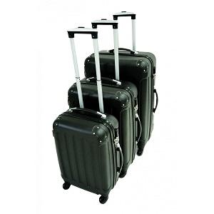 1.2 Todeco - Set de 3 maletas Trolley de color negro