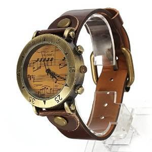 5.Reloj Analogico Cuarzo Vintage Pulsera Correa PU Marrón para Mujer Hombre